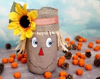 Scarecrow Jar, Halloween Decor, Fall Decor