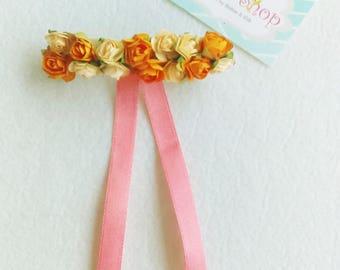 Floral Hair Clip - Peach and Beige