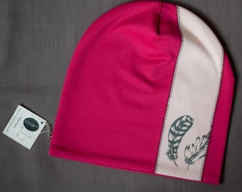 Women beanie hat Pink slouchy jersey beanie Hat for ladies Adult scull cap Hat with cotton lining Slouchy beanie hat for her Women's beanie