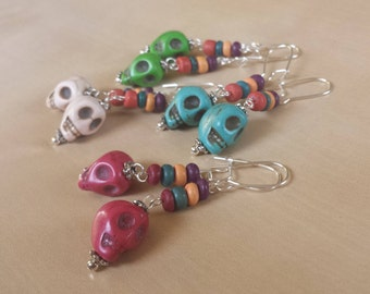Dia de los Muertos dangle earrings