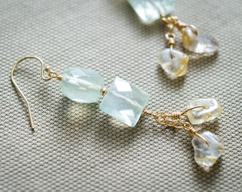 Prehnite Earrings,  Golden Rutilated Quartz Earrings, 14kt Gold Filled Earrings, Dangle & Drop Earrings, Gemstone Jewelry, Crystal Earrings