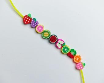 10 polymer clay beads * fruit * 1 cm