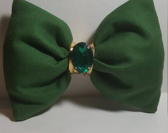Olive fluffy bow