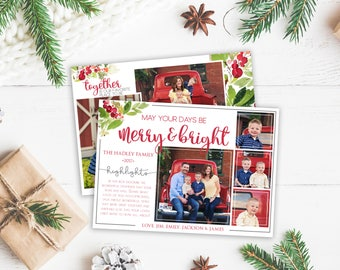 Christmas Card Template - Digital Download - Year Highlights