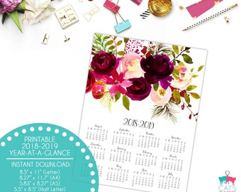Academic Year-at-a-Glance 2018-2019 | Boho Bordo Flowers | Digital | Instant Download | Printable