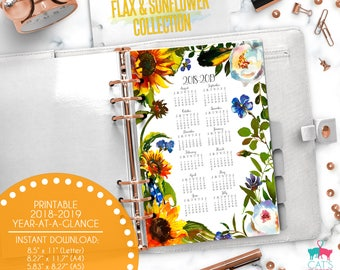 Printable Calendar A5 A4 Letter Watercolor Planners 2018-2019 Year at a Glance | Flax and Sunflower Floral Collection | FSCYG1819