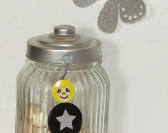 Bag charm Keychain with name, black, star glitter, wood beads, handpainted, balls of smiles to message, personalized