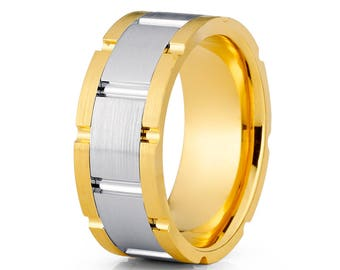 Men's Wedding Band Yellow Gold Wedding Band 14k Gold Wedding Ring Women's Wedding Ring Designer Wedding Ring Comfort Fit Ring