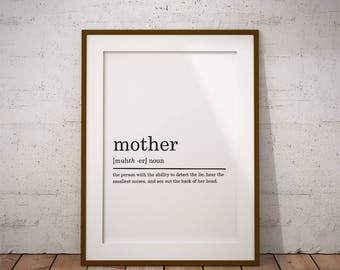 Mother Definition Print, Gift for Mom, Gift For Mother, Mom present, Printable Poster, DIGITAL DOWNLOAD