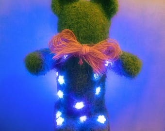 Bear Teddy LED, Night Light Child Adult Decorative Ambience, Holiday, Christmas Gift, Sculpture, Art Object Natural Plant Mousse