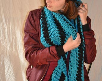 Black and turquoise crochet scarf broad mesh