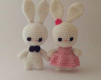 Pair of crocheted rabbits-Valentine's Day gift idea-wedding-anniversary-gift idea