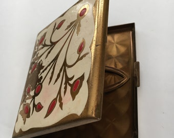 Vintage Elgin Cigarette Case Gold White Red Flower Enamel Mid century