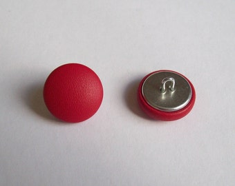 6 20mm red leather covered buttons