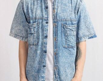 Vintage Denim Shirt 1990s Size M Medium