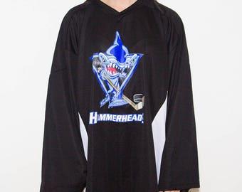 Hammerheads, Ice Hockey Jersey, Sports Jersey, Ice Hockey, Hockey, Long-Sleeved, Distressed Print, Logo, Champions, 90s, 90s Vintage, Black