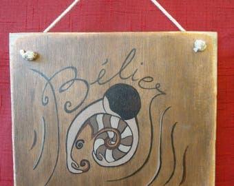 """Sign, Zodiac """"Aries"""" wooden door sign"""