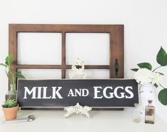 Kitchen Signs. Milk and Eggs Kitchen Sign. Rustic Kitchen Decor. Farmhouse Decor. Wooden Kitchen Sign. Farm Sign. Farm Sign. Farmhouse Sign