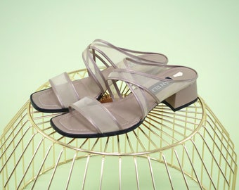 Special find gold/taupe Van Eli block heels with mesh straps - compare to recent Maryam Nassir Zadeh