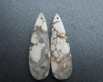 Howlite Slice Pair, Gemstone Slice Pair, Gemstone Drilled Pair, White, Ivory, Taupe, Clear, Grey, Golden Brown, OOAK Gemstone Pair - HGD2165