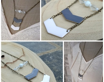 Aztec inspired grey and white necklace