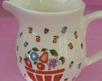 Ceramic Pitcher with Fruit Basket, Crackle Glass Pitcher, Multi Color Fruit Basket on Creamer