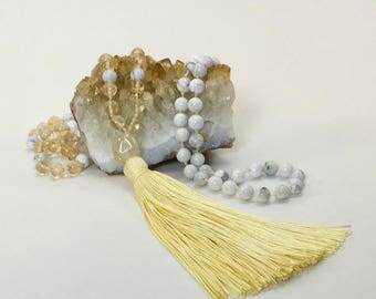 Sunny Disposition Citrine and White Howlite 108 Bead Hand-Knotted Mala Necklace
