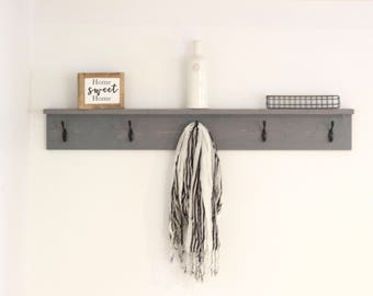 Wood Coat Rack With Shelf | Rustic Coat Rack | Entryway Coat Hooks | Wall  Mount