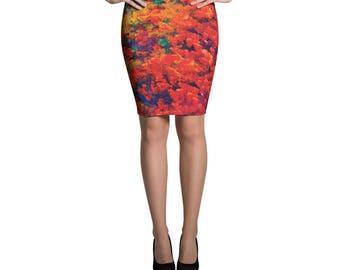Floral Skirt Printed Pattern Bright, Bold, Classic Pencil Skirt, Orange Skirt, Form Fitting, High Waisted Skirt, Knee Length Skirt, Stretchy