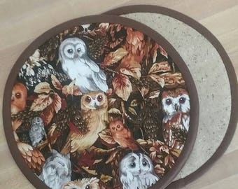 Owl Potholders, Hot Pads, Mats, 8 inch, Round