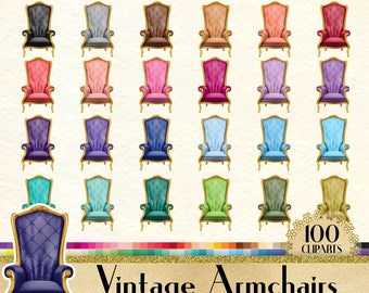 "100 Vintage Armchair Cliparts in 12"" x 12"" Separate, 300 Dpi Planner, Commercial Use, 100 Digital Clipart, 100 Transparent Cliparts"