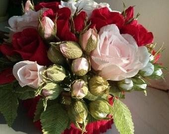 Crepe Paper Flower  .Bouquets,Paper flower,Paper flower picture,  Paper floral decor,Gift