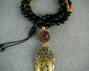 Meditation mala, raise your vibration, Buddha, Onyx beads stones and Rudrakshas the holly seeds, removable tassel
