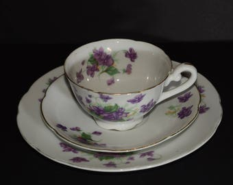 SHAFFORD, Hand Painted, Japan, Teacup, saucer and plate, Purple Violets, Gold Rimmed, Japan, Vintage, Trio, scalloped edge, footed teacup