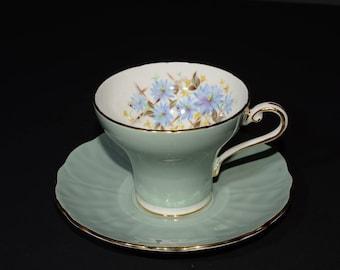 AYNSLEY, Vintage, Jade Green, Teacup and Saucer, Corset shape, 29, Green Tea Cup, Bone China, Gold Rimmed, England, floral design