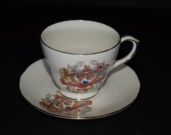 Vintage DUCHESS Princes Charles, Diana Spencer, Bone China, Teacup and Saucer set, wedding, 29 July 1981, Gold Rimmed, England, Collectible