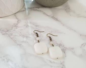 White Amazonite & White Riverstone drop earring | Handmade | ADV-ER-0001