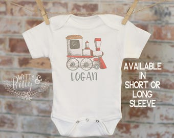 Choo Choo Train Personalized Onesie®, Toy Train Shirt, Cute Baby Clothes, Boho Baby Bodysuit, Baby Shower Gift, Boho Boys Outfit - 228L