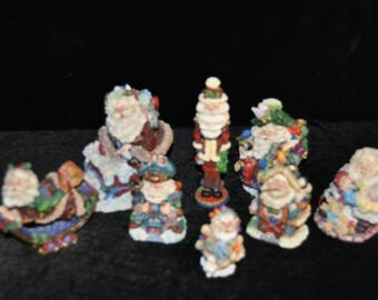 Crinkle Claus figurines from Possible Dreams LTD, Lot of Eight (8)