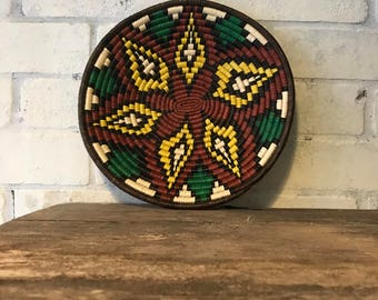 Artisan Basket crafted by Embera Indians in Panama, brown, green and yellow with flower