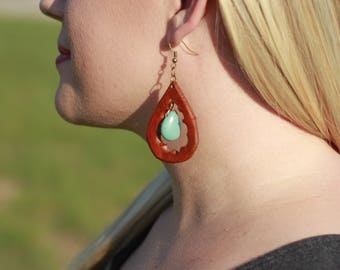 Blakely Turquoise Teardrop Earrings | Leather Earrings | Birthday Gift | Anniversary | Gifts under 25 | Handmade | Gifts for Her