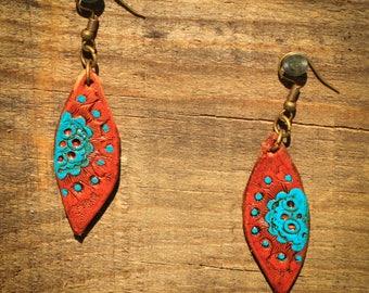 Lesley Turquoise Flower Tooled Earrings | Leather Earrings | Birthday Gift | Anniversary | Gifts under 25 | Handmade | Gifts for Her