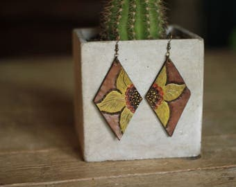 Denise Sunflower Yellow Earrings | Leather Earrings | Birthday Gift | Anniversary | Gifts under 25 | Handmade | Gifts for Her
