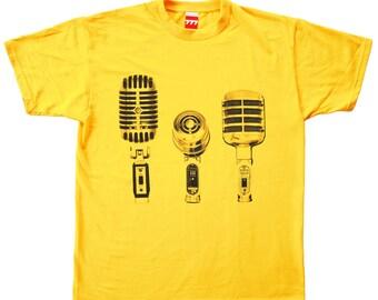 Microphones yellow Tshirt shure vintage audio hi fi music rock studio