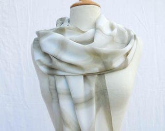Green silk crepe scarf