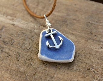 """Anchor Pottery Necklace. (18""""-19"""" Long) made with pottery collected from the Jurassic Coast."""