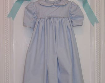 Cotton Baby Girl Dress. 4 to 6 Months. 100% Blue Cotton Pique