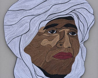 "Bedouin Portrait - Quilling Wall Art- Painting with 1/8"" (3mm) paper strips"