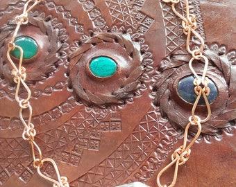 Clear Quartz Handmade Chain Copper Jewelry Quartz Crystal Necklace Pendant