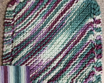 Handmade Knitted Dishcloth - Jewels Ombre